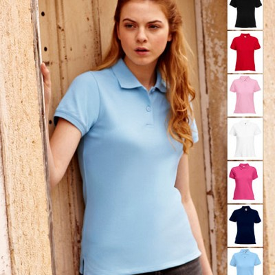 63 560 0 Tricouri polo promotionale colorate pentru dame Lady Fit Polo Fruit of the Loom